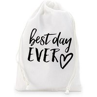 \best day ever\ Print Muslin Drawstring Favour Bag - Medium