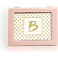 Small Personalised Modern Metal Jewellery Box - Gold Polka-Dot Print