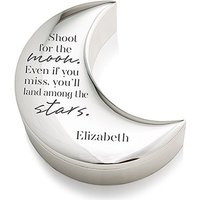 Personalised Silver Half Moon Jewellery Box - Shoot for the Moon Etching