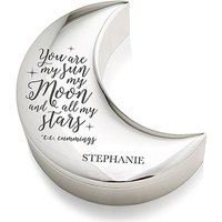 Personalised Silver Half Moon Jewellery Box - My Sun Moon and Stars Etching