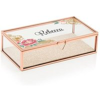 Personalised Glass Jewellery Box - Modern Floral Printing - Gold