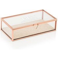 Personalised Glass Jewellery Box - Modern Serif Initials Printing - Rose Gold