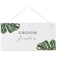 Small Personalised Wooden Wedding Sign - White Monstera Greenery
