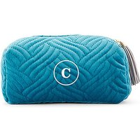 Quilted Velvet Travel Toiletry Bag - Oasis Blue