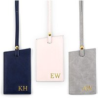 Faux Leather Luggage Tag - Pink