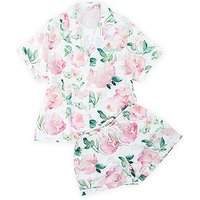 Pink Watercolour Floral Pyjama Shortie Set - X-Large Small