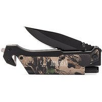 Personalised Camouflage Single Blade Pocket Knife with Light - Antler Motif