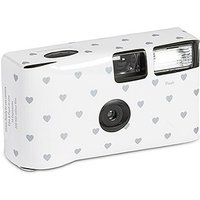 Disposable Camera - White and Silver Hearts Design