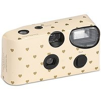 Disposable Camera - Ivory and Gold Hearts Design