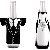 Bride or Groom Koozie Bottle Holder Favour - Wedding Dress Zippered