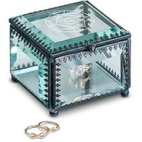 Vintage Inspired Glass Jewellery Box - Monogram Gem Etching