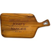 Mens Barware Etched Teak Cutting and Serving Board Gift