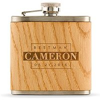 Personalised Best Man Oak Wrapped Hip Flask