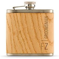 Personalised Wood Flask for Groomsman - Vertical Text
