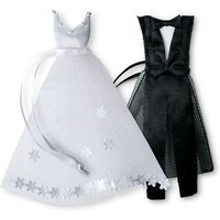 White Wedding Dress and Tuxedo Organza Favour Bags - Mini Groom Tux