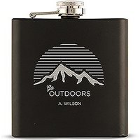 Go Outdoors Etched Black Hip Flask