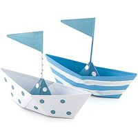 Blue and White Polka Dot and Striped Boat Favours