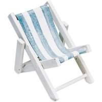 Mini Blue and White Striped Deck Chairs Beach Favour