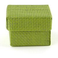Natural Woven Favour Boxes With Lids - Grass Green