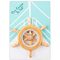 \Our Course is Set\ Boat Wheel Magnet Favour Gift