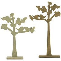Wooden Die-cut Trees with Love Birds Silhouette
