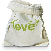 Eco Organic Cotton Drawstring Favour Bag - Green LOVE Print