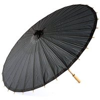 Paper Parasol with Bamboo Boning - Black
