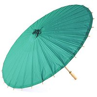 Paper Parasol with Bamboo Boning - Peacock Green