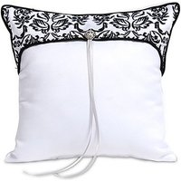 Love Bird Damask in Classic Black and White Ring Cushion