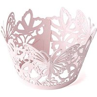 Beautiful Butterfly Filigree Paper Cupcake Wrappers - Pastel Pink Shimmer