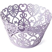 Lace Hearts Filigree Paper Cupcake Wrappers - Silver Grey Shimmer