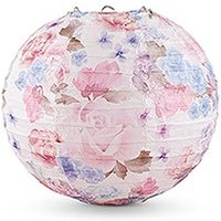 Round Paper Lantern with Vintage Floral Print - Small