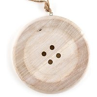 Charming Wooden Button Decoration with Natural Finish - Medium - White