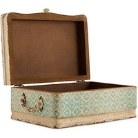 Vintage Inspired Wood Case with Hinged Lid - Sea Blue