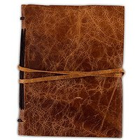 Leather Bound Journal Rustic Style Guest Book - Chocolate Brown