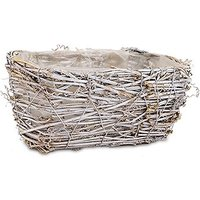 Tapered Wicker Basket with White Wash and Liner - Medium - White