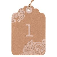 Large Kraft Tag with Vintage Lace White Print Numbers - Numbers 13-24
