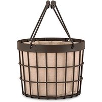 Rustic Wire Flower Basket with Fabric Liner - Chocolate Brown