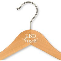 Personalised Wooden Wedding Clothes Hanger- Modern Fairytale Monogram - Without Bar Natural