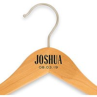 Personalised Wooden Wedding Clothes Hanger- Modern Print - With Bar Black