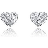 Sparkling Rhinestone Heart Stud Earrings