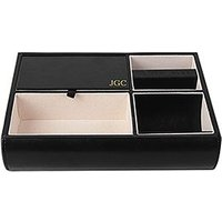 Mens Valet Tray - Black Faux Leather