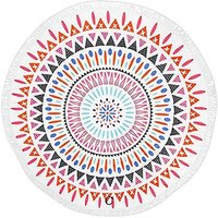Tribal Print Round Beach Towel - Multi-colour