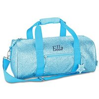 Personalised Kids Glitter Duffle Bag - Turquoise