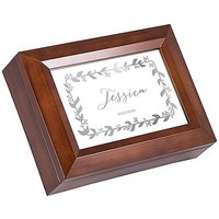 Large Personalised Wooden Music Box - Silver Botanical Wreath Foil Print