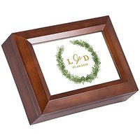 Large Personalised Wooden Music Box - Love Wreath Print