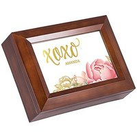 Large Personalised Wooden Music Box - Gold Modern Floral Foil Print