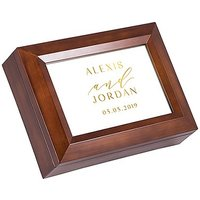 Large Personalised Wooden Music Box - Gold Modern Couple Foil Print