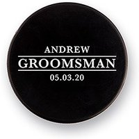 Custom Hockey Puck Bottle Opener Gift - Groomsman - Black