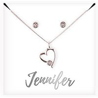 Personalised Bridal Party Heart & Crystal Jewellery Gift Set - Cursive Font